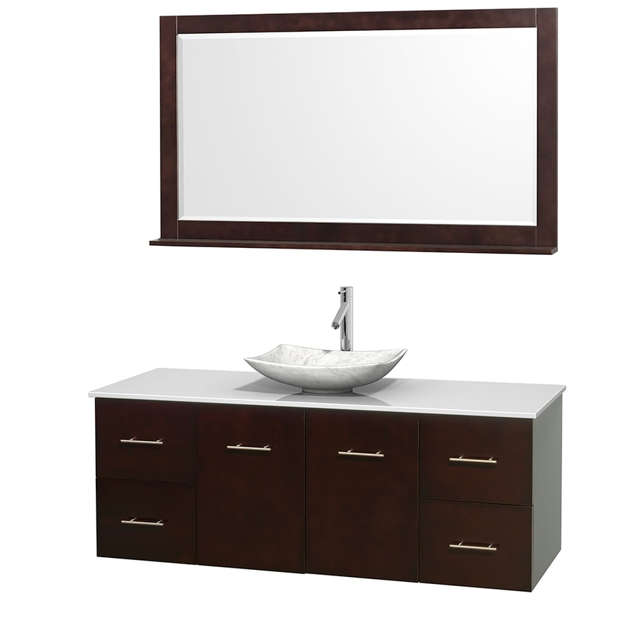 Wyndham Collection Centra Espresso (Common: 60-in x 22.5-in) Vessel Single Sink Oak Bathroom Vanity with Engineered Stone Top (Mirror Included) (Actual: 60-in x 22.25-in)