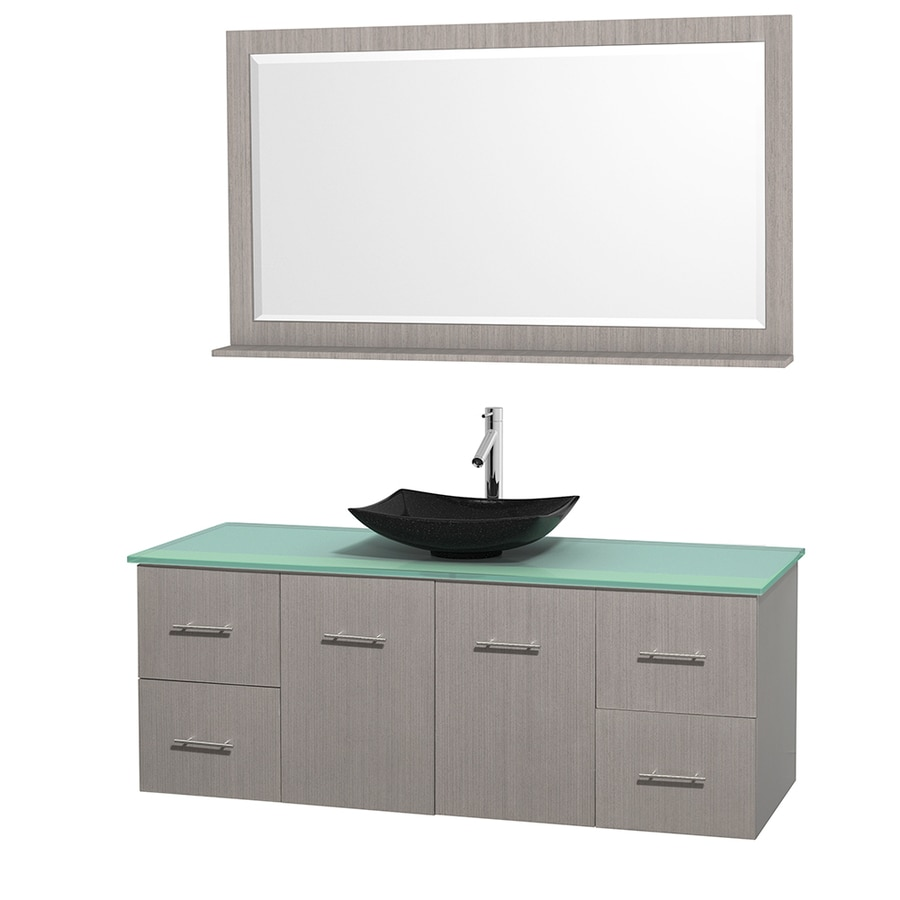 Wyndham Collection Centra Gray Oak 60-in Vessel Single Sink Oak Bathroom Vanity with Tempered Glass and Glass Top (Mirror Included)