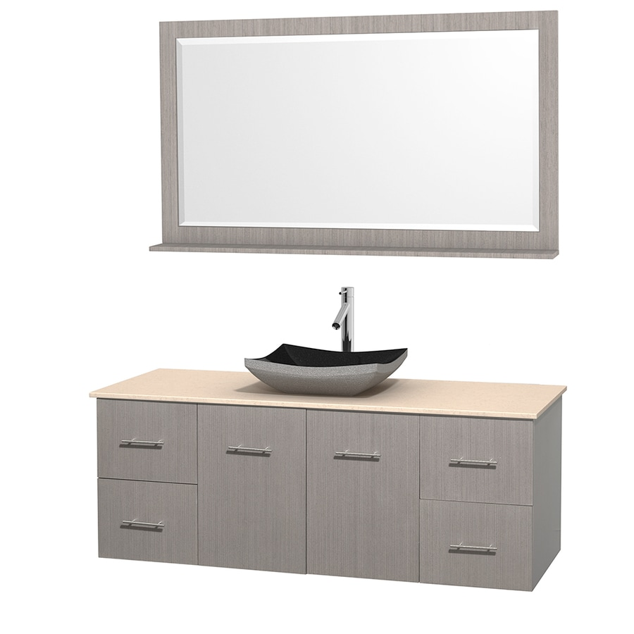 Wyndham Collection Centra Gray Oak Single Vessel Sink Bathroom Vanity with Natural Marble Top (Common: 60-in x 22.5-in; Actual: 60-in x 22.25-in)