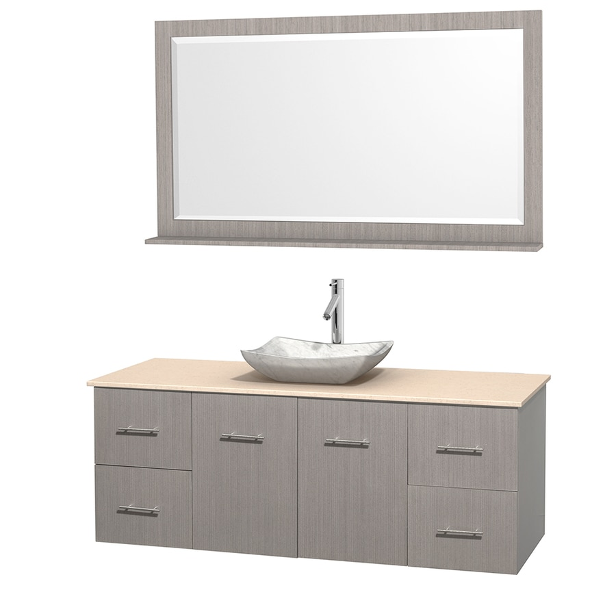 Wyndham Collection Centra Gray Oak (Common: 60-in x 22.5-in) Vessel Single Sink Oak Bathroom Vanity with Natural Marble Top (Mirror Included) (Actual: 60-in x 22.25-in)