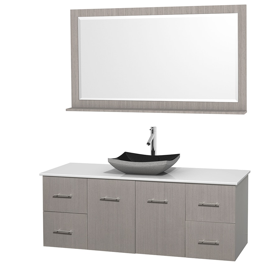 Wyndham Collection Centra Gray Oak 60-in Vessel Single Sink Oak Bathroom Vanity with Engineered Stone Top (Mirror Included)