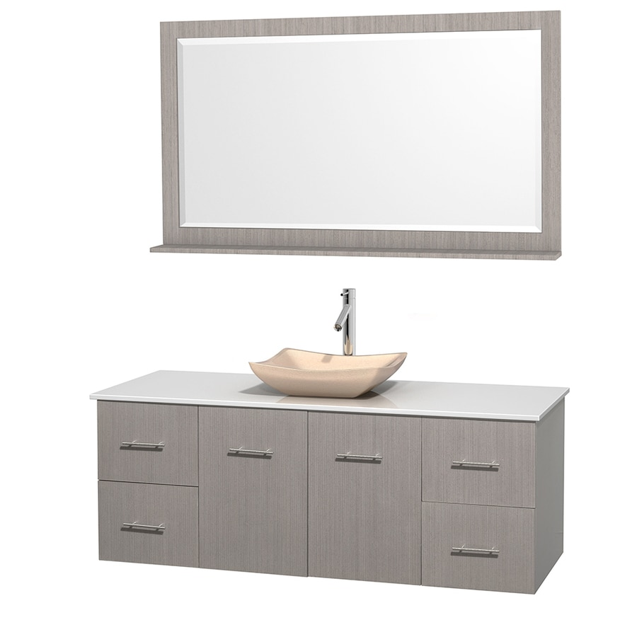 Wyndham Collection Centra Gray Oak (Common: 60-in x 22.5-in) Vessel Single Sink Oak Bathroom Vanity with Engineered Stone Top (Mirror Included) (Actual: 60-in x 22.25-in)