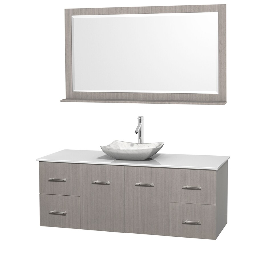 60 in vessel single sink oak bathroom vanity with engineered stone top