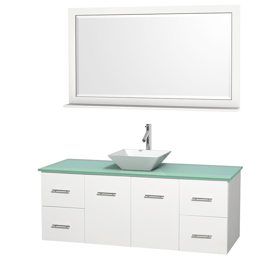Wyndham Collection Centra White 60-in Vessel Single Sink Oak Bathroom Vanity with Tempered Glass and Glass Top (Mirror Included)