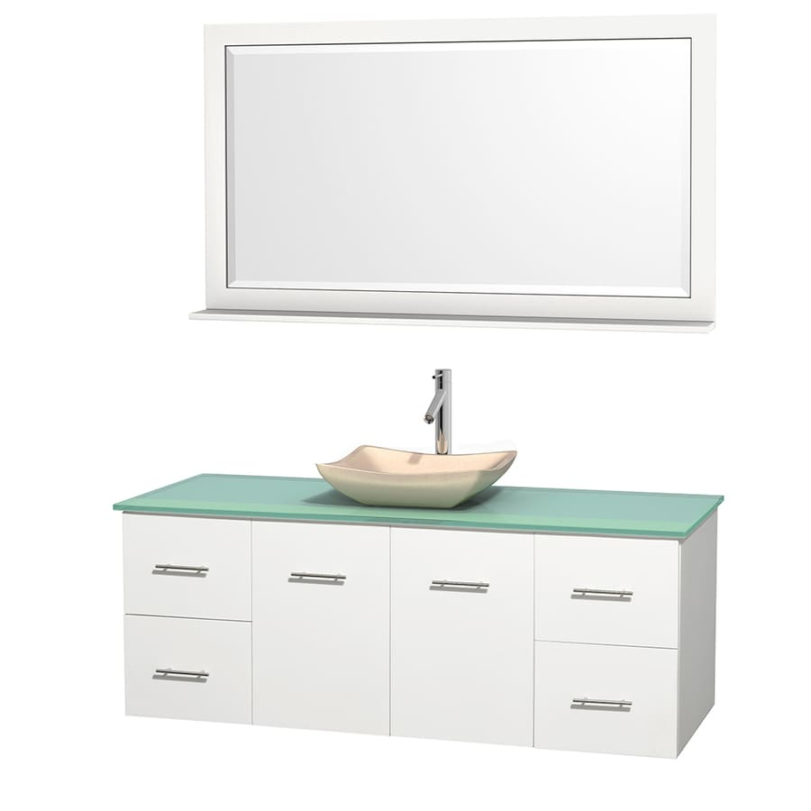Wyndham Collection Centra White Single Vessel Sink Bathroom Vanity With Tempered Glass And Glass Top