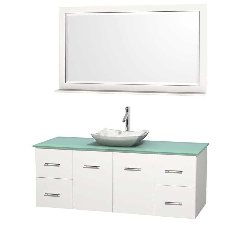Wyndham Collection Centra White (Common: 60-in x 22.5-in) Vessel Single Sink Oak Bathroom Vanity with Tempered Glass and Glass Top (Mirror Included) (Actual: 60-in x 22.25-in)