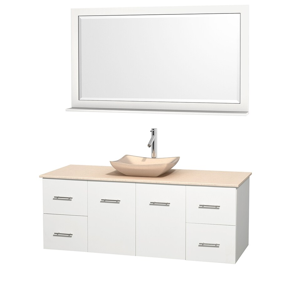 Wyndham Collection Centra White 60-in Vessel Single Sink Oak Bathroom Vanity with Natural Marble Top (Mirror Included)