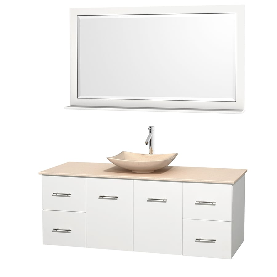 Wyndham Collection Centra White (Common: 60-in x 22.5-in) Vessel Single Sink Oak Bathroom Vanity with Natural Marble Top (Mirror Included) (Actual: 60-in x 22.25-in)