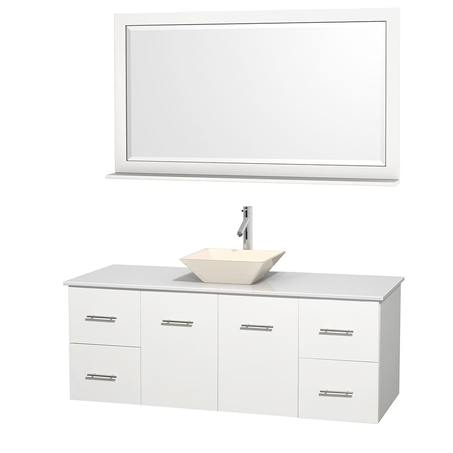 Wyndham Collection Centra White 60-in Vessel Single Sink Oak Bathroom Vanity with Engineered Stone Top (Mirror Included)