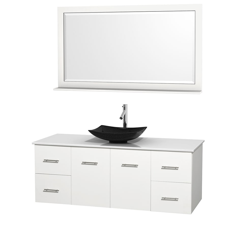 Wyndham Collection Centra White (Common: 60-in x 22.5-in) Vessel Single Sink Oak Bathroom Vanity with Engineered Stone Top (Mirror Included) (Actual: 60-in x 22.25-in)