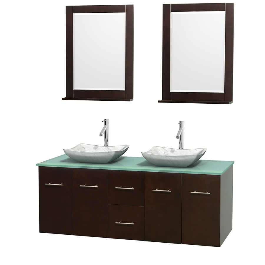Wyndham Collection Centra Espresso (Common: 60-in x 22.5-in) Vessel Double Sink Oak Bathroom Vanity with Tempered Glass and Glass Top (Mirror Included) (Actual: 60-in x 22.25-in)