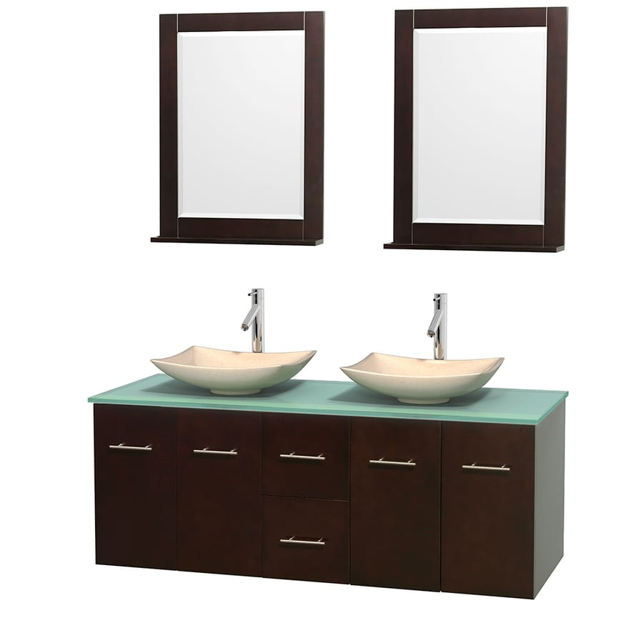 Wyndham Collection Centra Espresso 60-in Vessel Double Sink Oak Bathroom Vanity with Tempered Glass and Glass Top (Mirror Included)