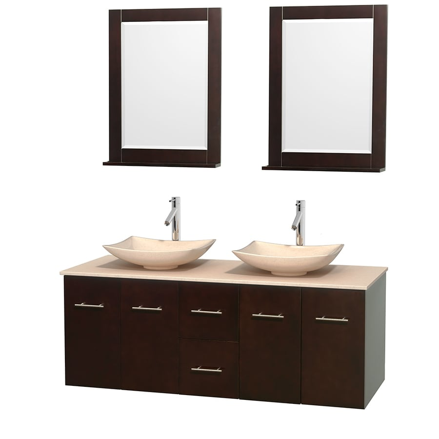 Wyndham Collection Centra Espresso (Common: 60-in x 22.5-in) Vessel Double Sink Oak Bathroom Vanity with Natural Marble Top (Mirror Included) (Actual: 60-in x 22.25-in)