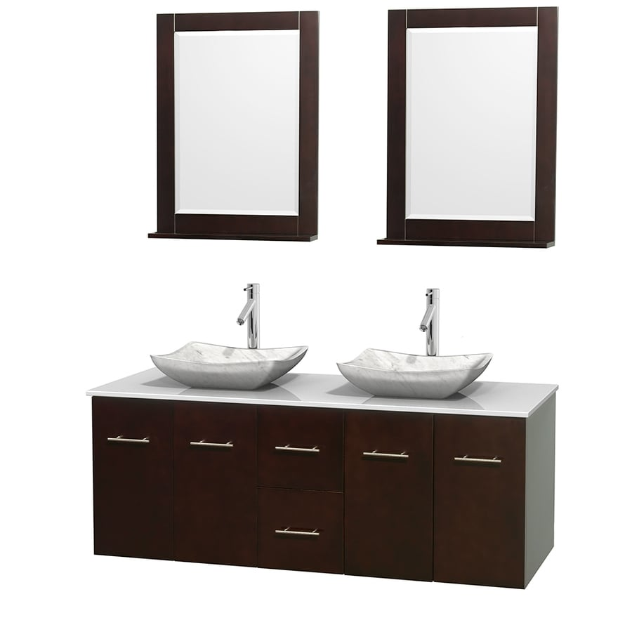 Wyndham Collection Centra Espresso 60-in Vessel Double Sink Oak Bathroom Vanity with Engineered Stone Top (Mirror Included)
