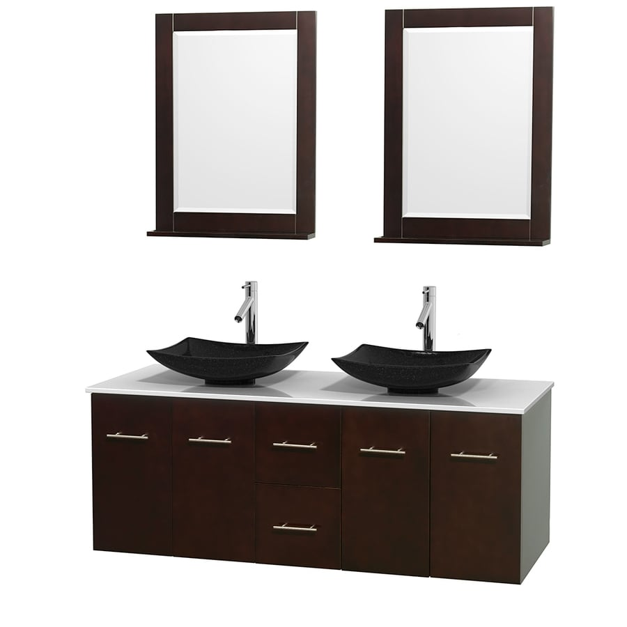 Wyndham Collection Centra Espresso (Common: 60-in x 22.5-in) Vessel Double Sink Oak Bathroom Vanity with Engineered Stone Top (Mirror Included) (Actual: 60-in x 22.25-in)