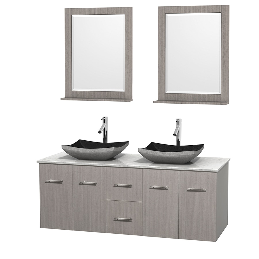 Wyndham Collection Centra Gray Oak 60-in Vessel Double Sink Oak Bathroom Vanity with Natural Marble Top (Mirror Included)