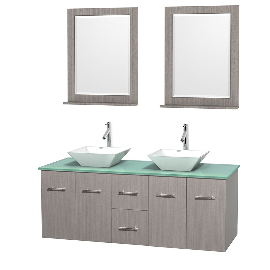 Wyndham Collection Centra Gray Oak (Common: 60-in x 22.5-in) Vessel Double Sink Oak Bathroom Vanity with Tempered Glass and Glass Top (Mirror Included) (Actual: 60-in x 22.25-in)