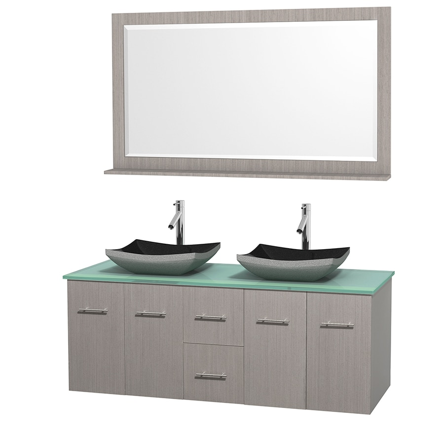 Wyndham Collection Centra Gray Oak Double Vessel Sink Bathroom Vanity with Tempered Glass and Glass Top (Common: 60-in x 22.5-in; Actual: 60-in x 22.25-in)