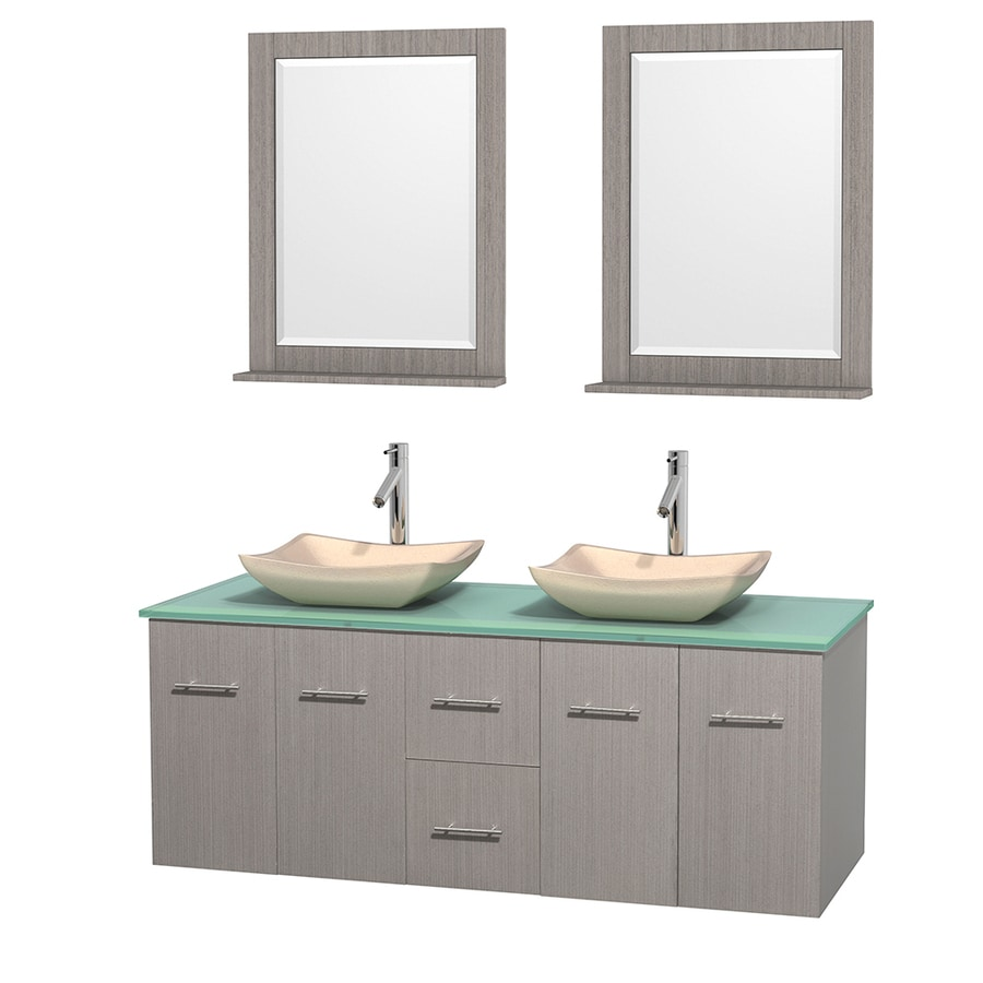 Wyndham Collection Centra Gray Oak 60-in Vessel Double Sink Oak Bathroom Vanity with Tempered Glass and Glass Top (Mirror Included)