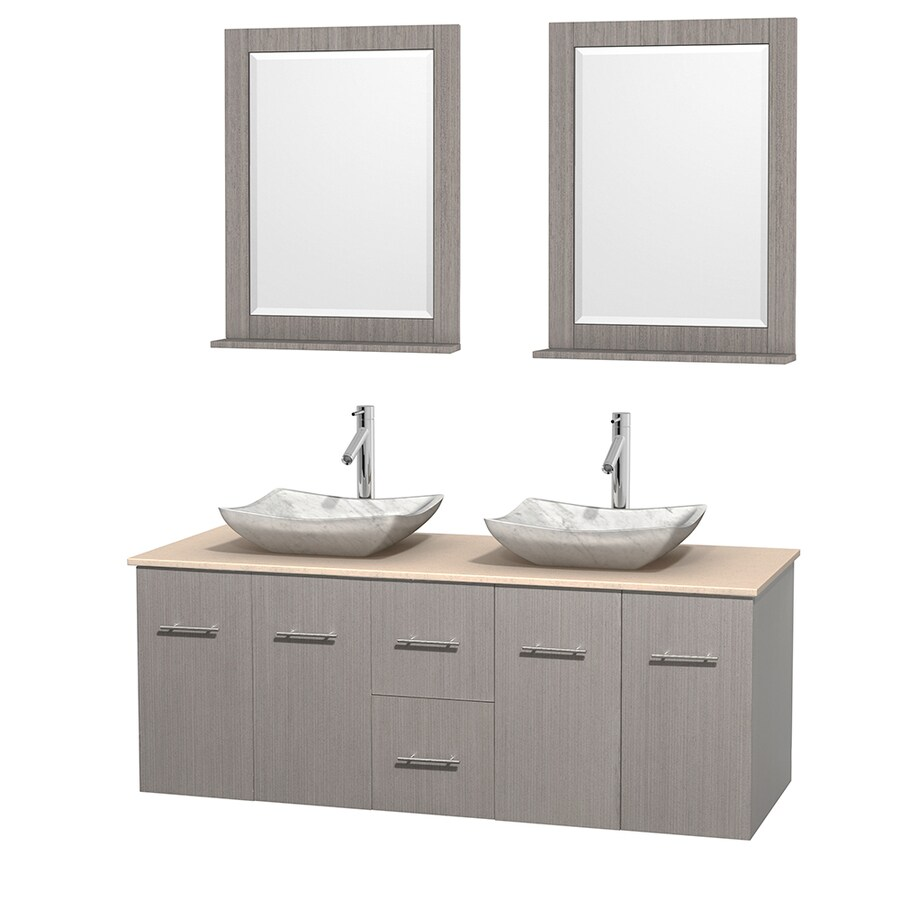 Wyndham Collection Centra Gray Oak (Common: 60-in x 22.5-in) Vessel Double Sink Oak Bathroom Vanity with Natural Marble Top (Mirror Included) (Actual: 60-in x 22.25-in)