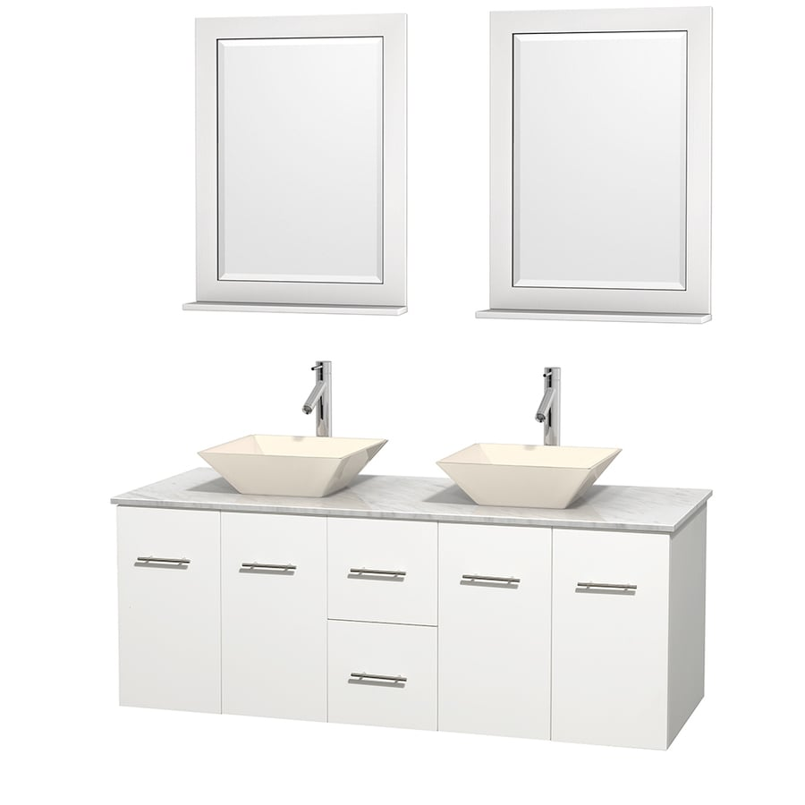 Wyndham Collection Centra White (Common: 60-in x 22.5-in) Vessel Double Sink Oak Bathroom Vanity with Natural Marble Top (Mirror Included) (Actual: 60-in x 22.25-in)