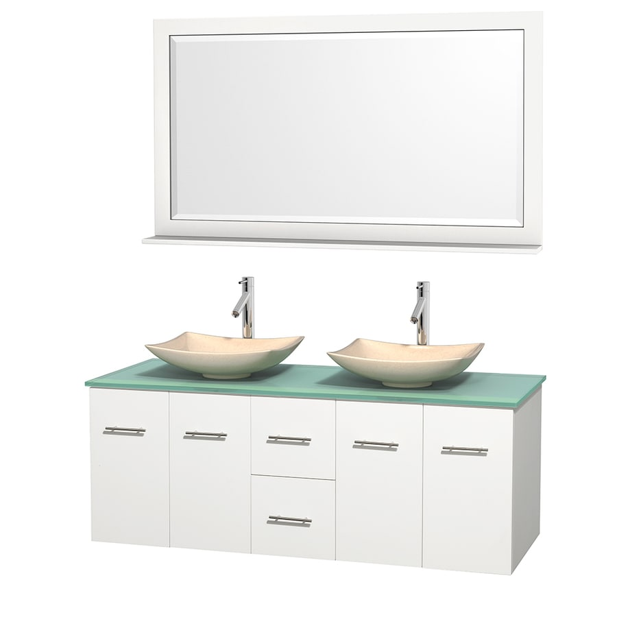 Wyndham Collection Centra White Double Vessel Sink Bathroom Vanity with Tempered Glass and Glass Top (Common: 60-in x 22.5-in; Actual: 60-in x 22.25-in)