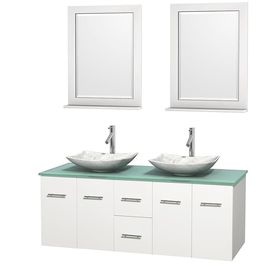 Wyndham Collection Centra White (Common: 60-in x 22.5-in) Vessel Double Sink Oak Bathroom Vanity with Tempered Glass and Glass Top (Mirror Included) (Actual: 60-in x 22.25-in)