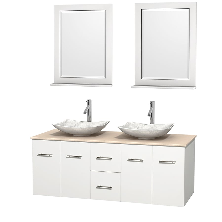 Wyndham Collection Centra White 60-in Vessel Double Sink Oak Bathroom Vanity with Natural Marble Top (Mirror Included)