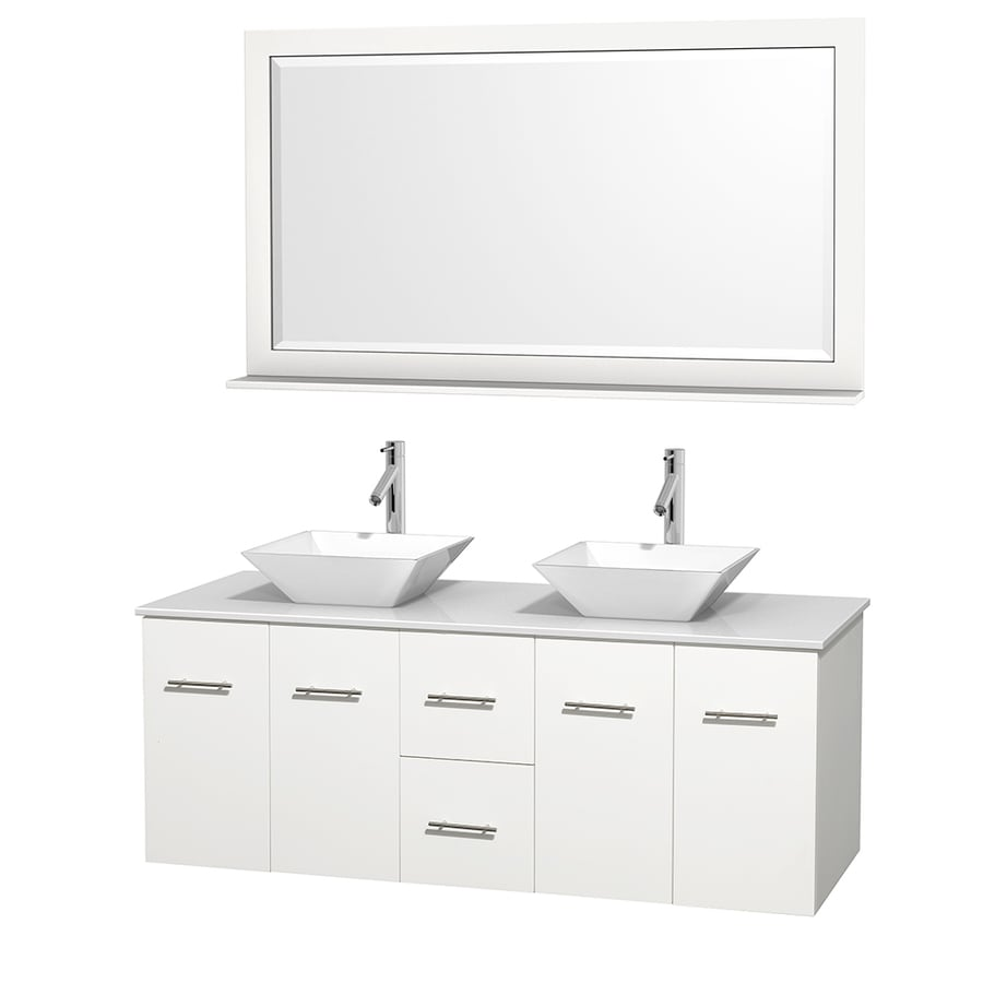 Wyndham Collection Centra White Double Vessel Sink Bathroom Vanity with Engineered Stone Top (Common: 60-in x 22.5-in; Actual: 60-in x 22.25-in)