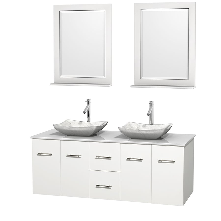Wyndham Collection Centra White 60-in Vessel Double Sink Oak Bathroom Vanity with Engineered Stone Top (Mirror Included)