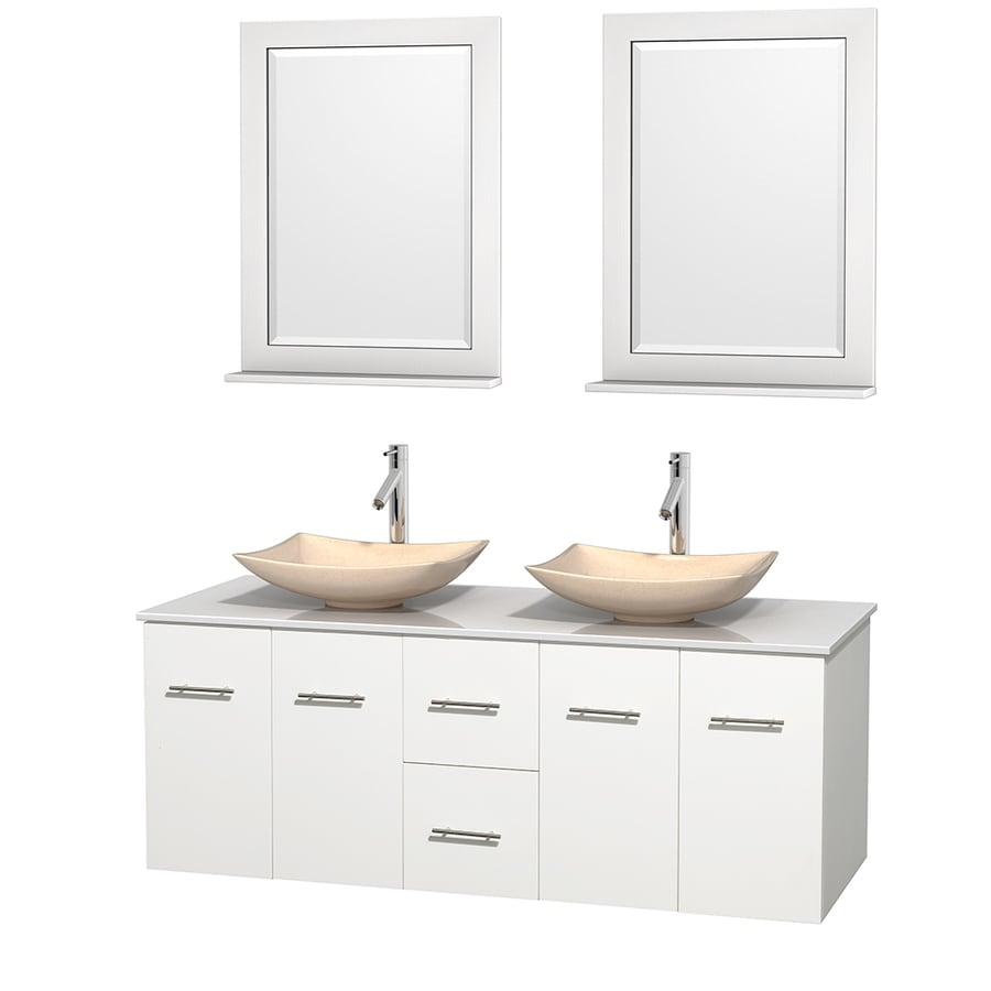 Wyndham Collection Centra White (Common: 60-in x 22.5-in) Vessel Double Sink Oak Bathroom Vanity with Engineered Stone Top (Mirror Included) (Actual: 60-in x 22.25-in)