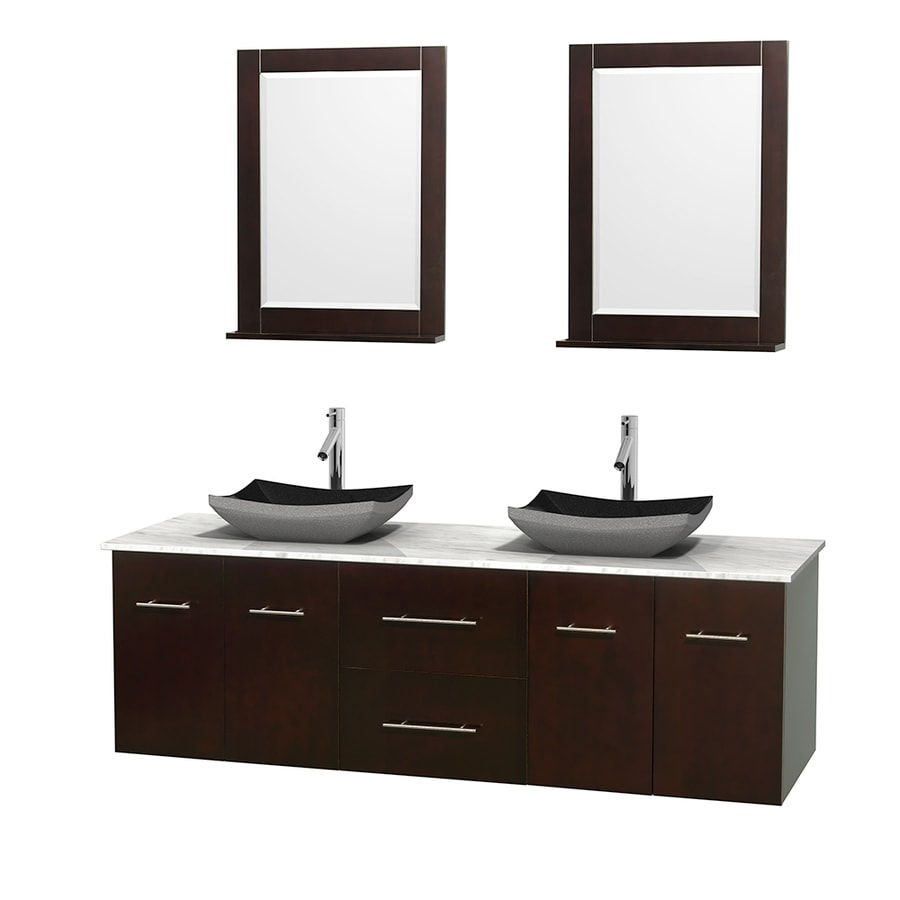 Wyndham Collection Centra Espresso 72-in Vessel Double Sink Oak Bathroom Vanity with Natural Marble Top (Mirror Included)
