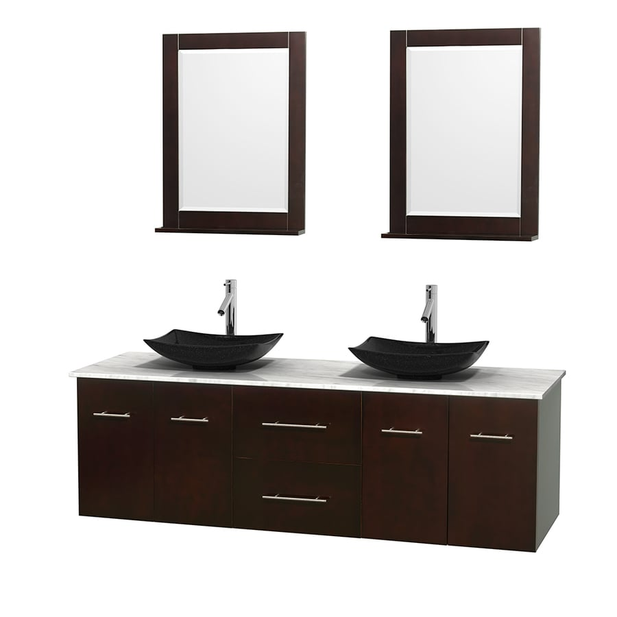 Wyndham Collection Centra Espresso (Common: 72-in x 22.5-in) Vessel Double Sink Oak Bathroom Vanity with Natural Marble Top (Mirror Included) (Actual: 72-in x 22.25-in)
