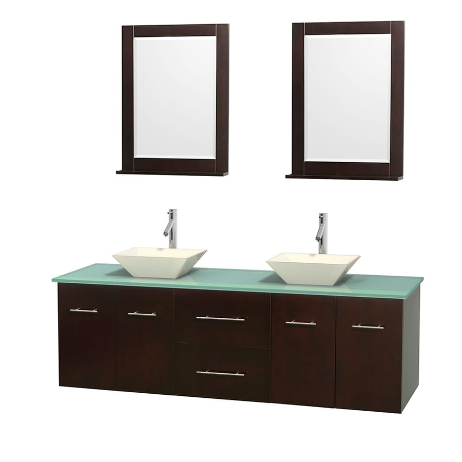 Wyndham Collection Centra Espresso (Common: 72-in x 22.5-in) Vessel Double Sink Oak Bathroom Vanity with Tempered Glass and Glass Top (Mirror Included) (Actual: 72-in x 22.25-in)