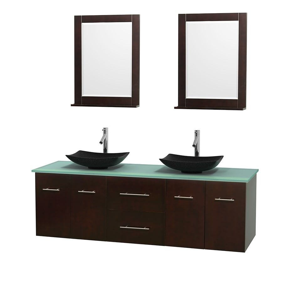 Wyndham Collection Centra Espresso 72-in Vessel Double Sink Oak Bathroom Vanity with Tempered Glass and Glass Top (Mirror Included)