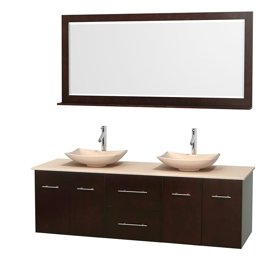 Wyndham Collection Centra Espresso Double Vessel Sink Bathroom Vanity with Natural Marble Top (Common: 72-in x 22.5-in; Actual: 72-in x 22.25-in)