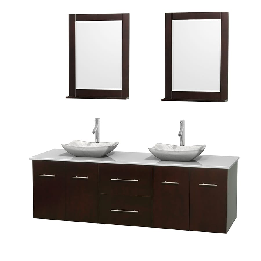 Wyndham Collection Centra Espresso Double Vessel Sink Bathroom Vanity with Engineered Stone Top (Common: 72-in x 22.5-in; Actual: 72-in x 22.25-in)