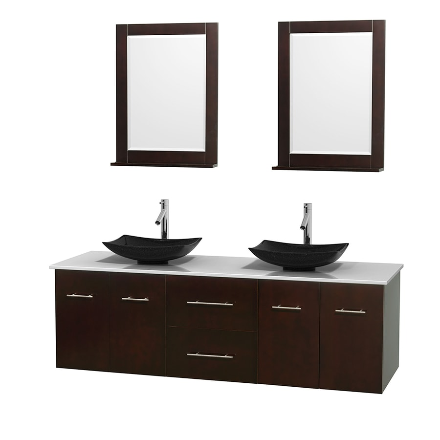 Wyndham Collection Centra Espresso (Common: 72-in x 22.5-in) Vessel Double Sink Oak Bathroom Vanity with Engineered Stone Top (Mirror Included) (Actual: 72-in x 22.25-in)