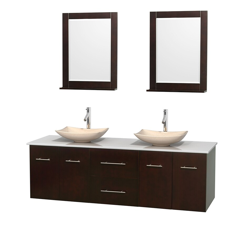 Wyndham Collection Centra Espresso 72-in Vessel Double Sink Oak Bathroom Vanity with Engineered Stone Top (Mirror Included)