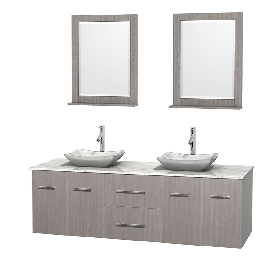 Wyndham Collection Centra Gray Oak Double Vessel Sink Bathroom Vanity with Natural Marble Top (Common: 72-in x 22.5-in; Actual: 72-in x 22.25-in)