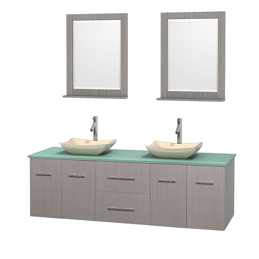 Wyndham Collection Centra Gray Oak 72-in Vessel Double Sink Oak Bathroom Vanity with Tempered Glass and Glass Top (Mirror Included)
