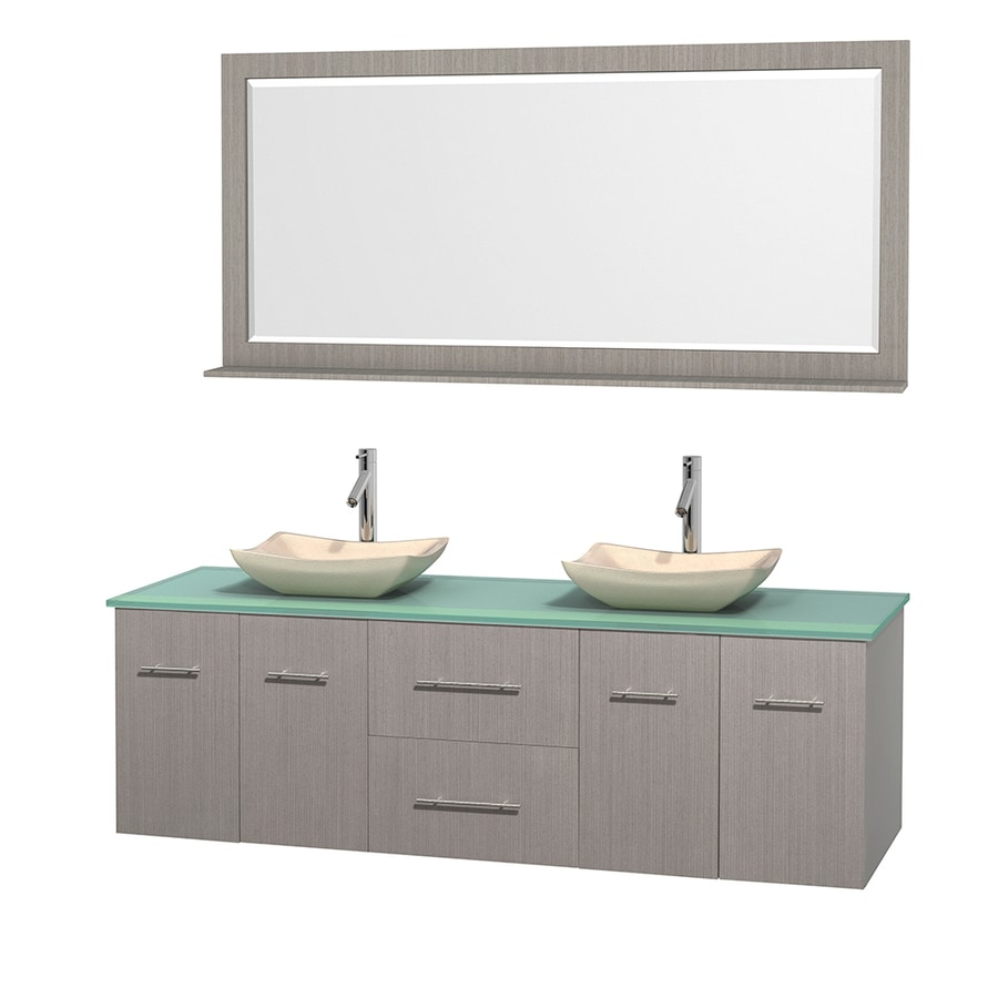 Wyndham Collection Centra Gray Oak Double Vessel Sink Bathroom Vanity with Tempered Glass and Glass Top (Common: 72-in x 22.5-in; Actual: 72-in x 22.25-in)