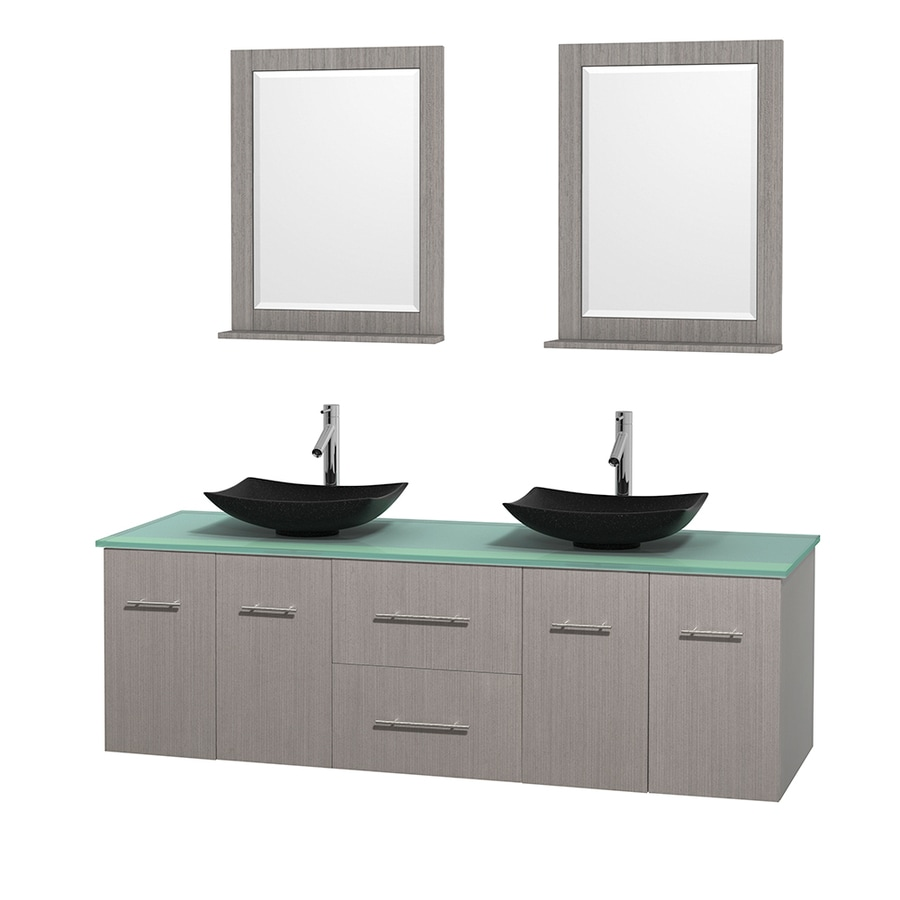 Wyndham Collection Centra Gray Oak (Common: 72-in x 22.5-in) Vessel Double Sink Oak Bathroom Vanity with Tempered Glass and Glass Top (Mirror Included) (Actual: 72-in x 22.25-in)