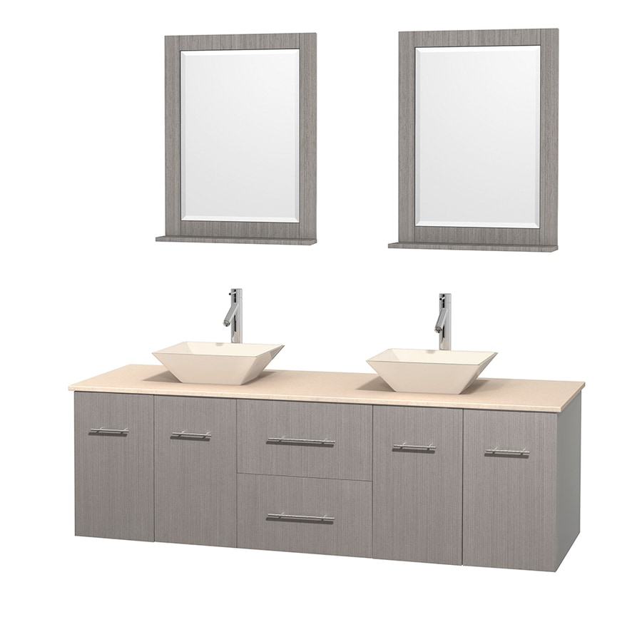 Wyndham Collection Centra Gray Oak (Common: 72-in x 22.5-in) Vessel Double Sink Oak Bathroom Vanity with Natural Marble Top (Mirror Included) (Actual: 72-in x 22.25-in)