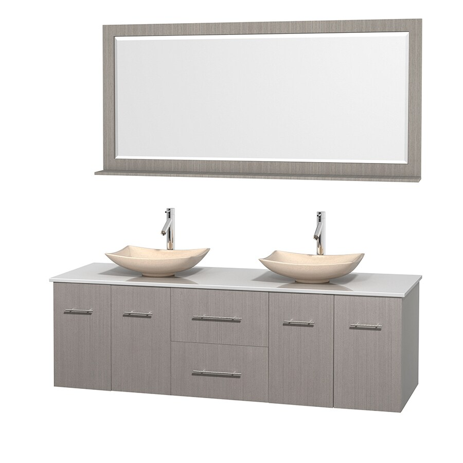 Wyndham Collection Centra Gray Oak Double Vessel Sink Bathroom Vanity with Engineered Stone Top (Common: 72-in x 22.5-in; Actual: 72-in x 22.25-in)