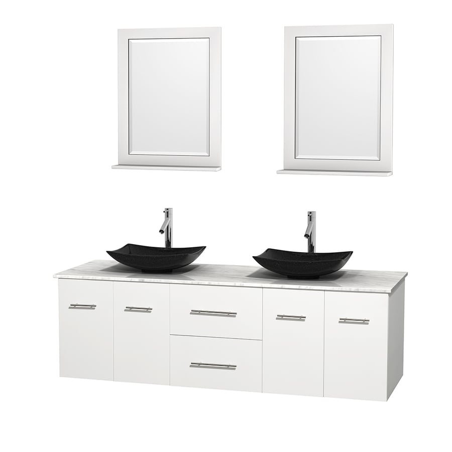 Wyndham Collection Centra White 72-in Vessel Double Sink Oak Bathroom Vanity with Natural Marble Top (Mirror Included)