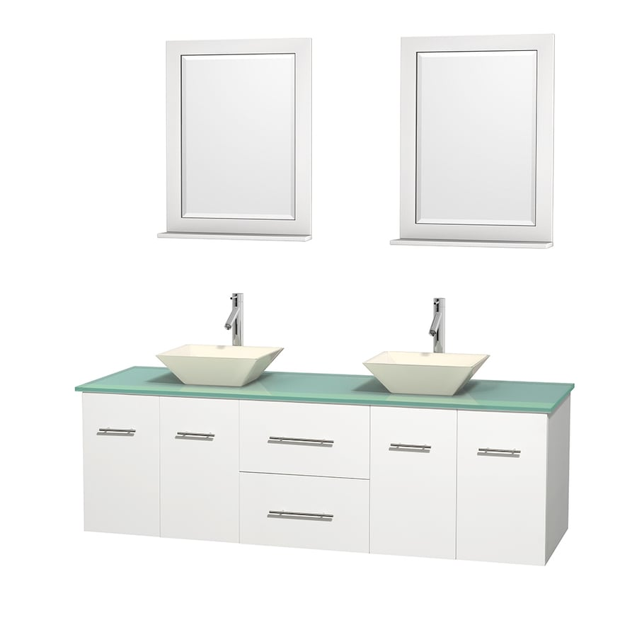 Wyndham Collection Centra White 72-in Vessel Double Sink Oak Bathroom Vanity with Tempered Glass and Glass Top (Mirror Included)