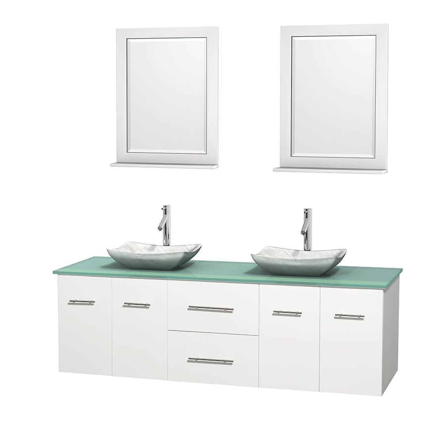 Wyndham Collection Centra White (Common: 72-in x 22.5-in) Vessel Double Sink Oak Bathroom Vanity with Tempered Glass and Glass Top (Mirror Included) (Actual: 72-in x 22.25-in)