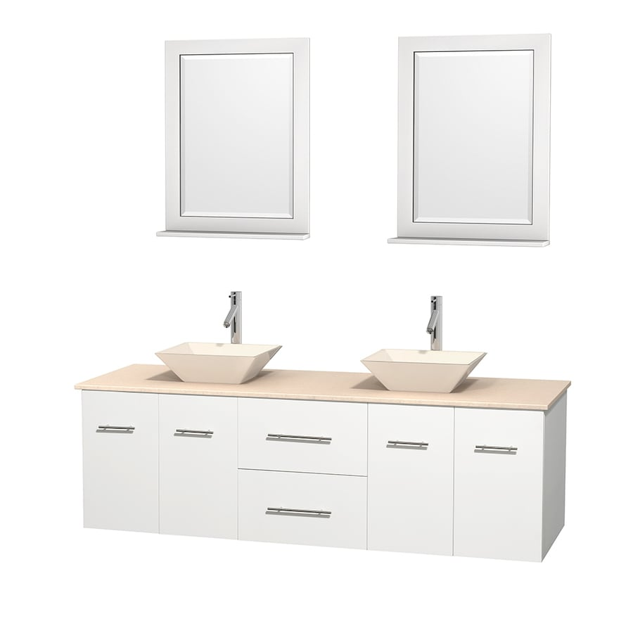 Wyndham Collection Centra White Double Vessel Sink Bathroom Vanity with Natural Marble Top (Common: 72-in x 22.5-in; Actual: 72-in x 22.25-in)