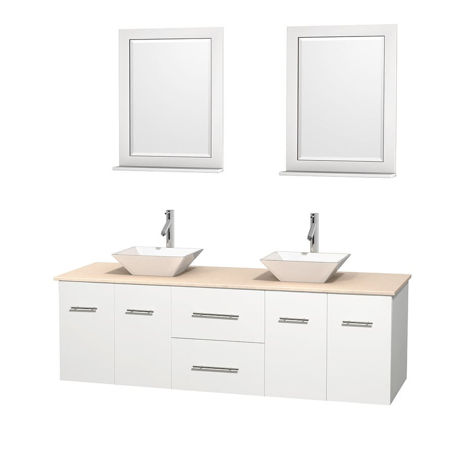 Wyndham Collection Centra White (Common: 72-in x 22.5-in) Vessel Double Sink Oak Bathroom Vanity with Natural Marble Top (Mirror Included) (Actual: 72-in x 22.25-in)